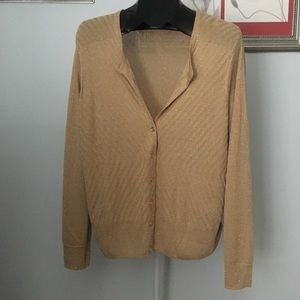 Gold Shimmer Button Up Cardigan